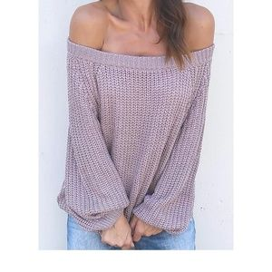 Sweaters - Lilac Purple Off Shoulder Knit Sweater